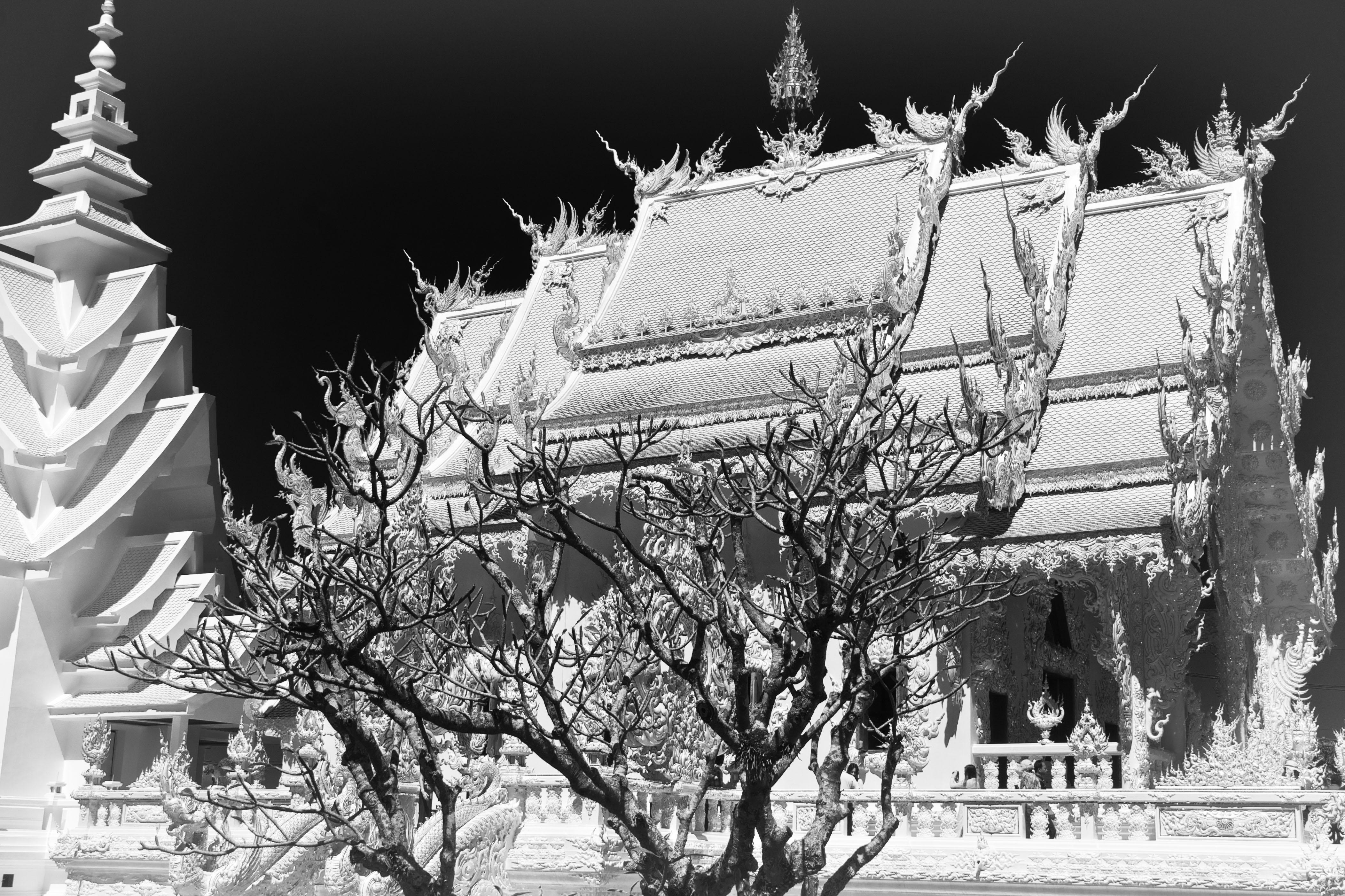 B&W image of White Temple Chiang Rai