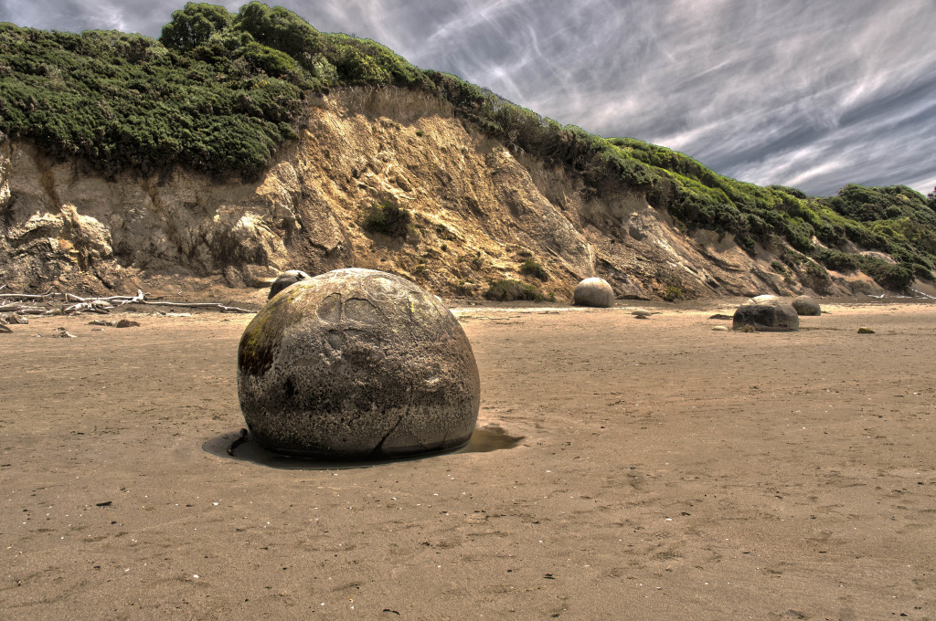 On our drive from Dunedin to Christchurch we stopped by the Moeraki Boulders. These boulders, measuring up to 6.6 ft in diameter, took an estimated 5 million years to grow! They are composites of mudstone and other sea floor sediments (i.e. sea shells). They look like dinosaur eggs to me.