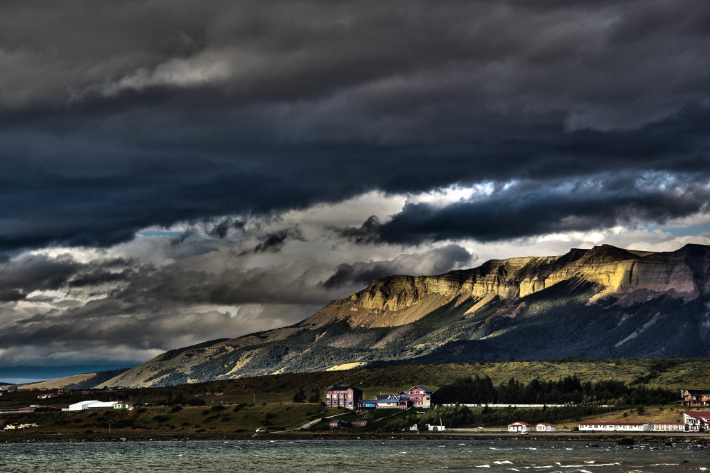Puerto Natales, Chile at sunset