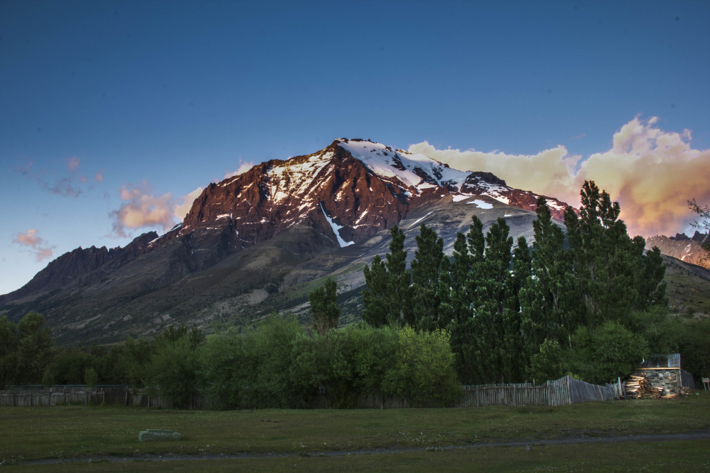 Sunrise mountain views from our hotel in Torres Del Paine Park